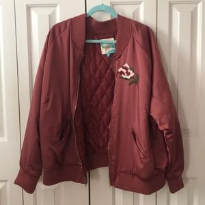 Jackets & Blazers - Maroon Bomber Plus Size Jacket Embroidered NWOT